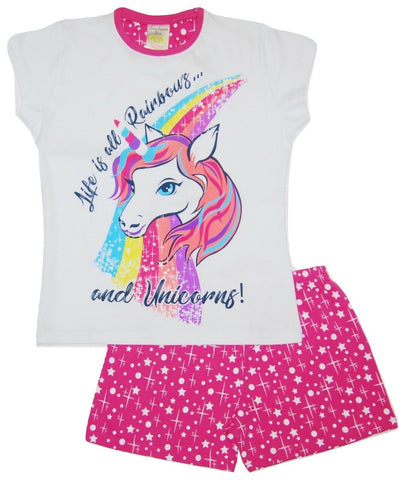 Girls Short Unicorn Pyjamas