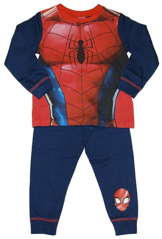 Boy's Spiderman Costume Pyjamas, featuring Spiderman Suit style Top, and Spiderman Mask print on Bottoms.