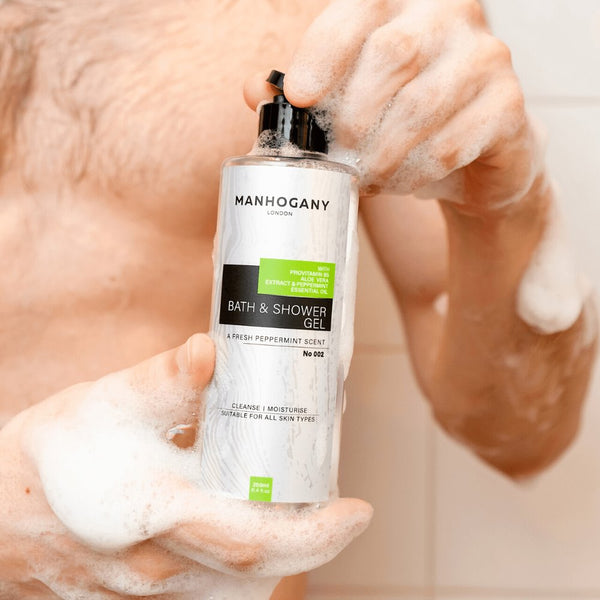 Manhogany Bath and Shower Gel (250ml) Bundle Pack 4 with Fresh Peppermint - Natural Ingredients Bath and Shower Gel MANHOGANY