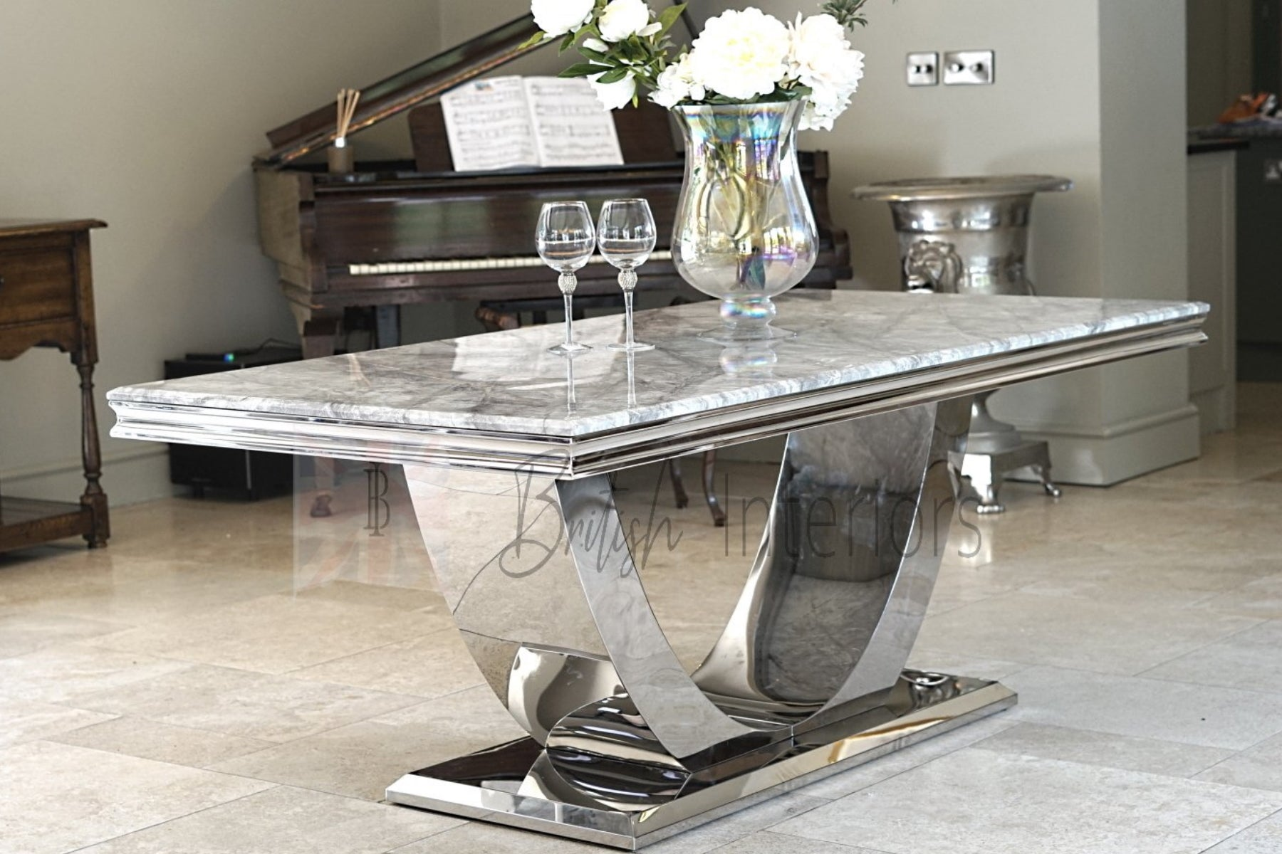 Denver Grey Marble Dining Table