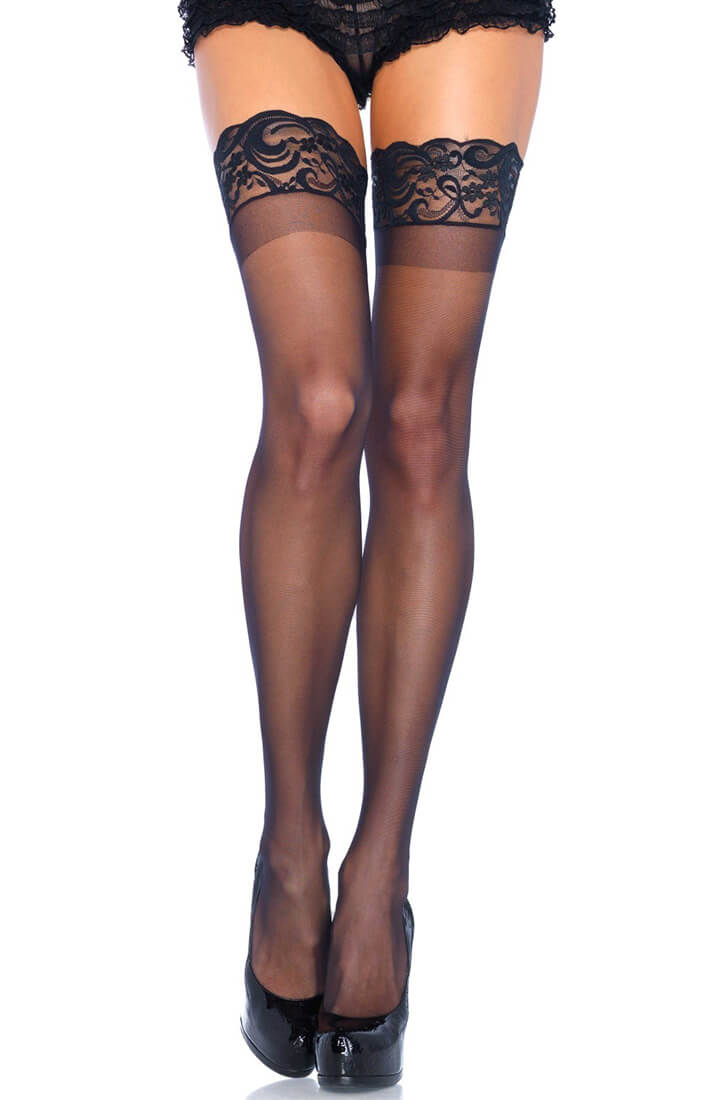 Black sheer stay ups with silicone lace top