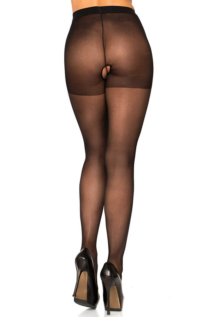 Black crotchless tights