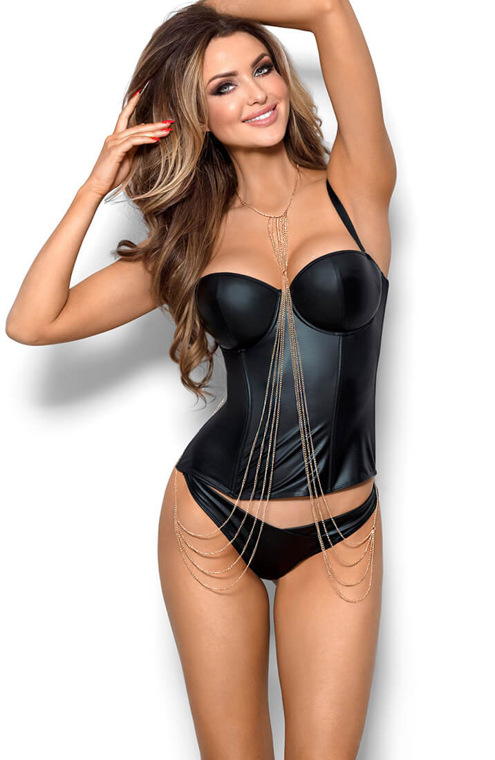INFATUATED - Black wet look bustier corset & thong