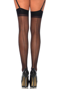 Black stockings with back seam