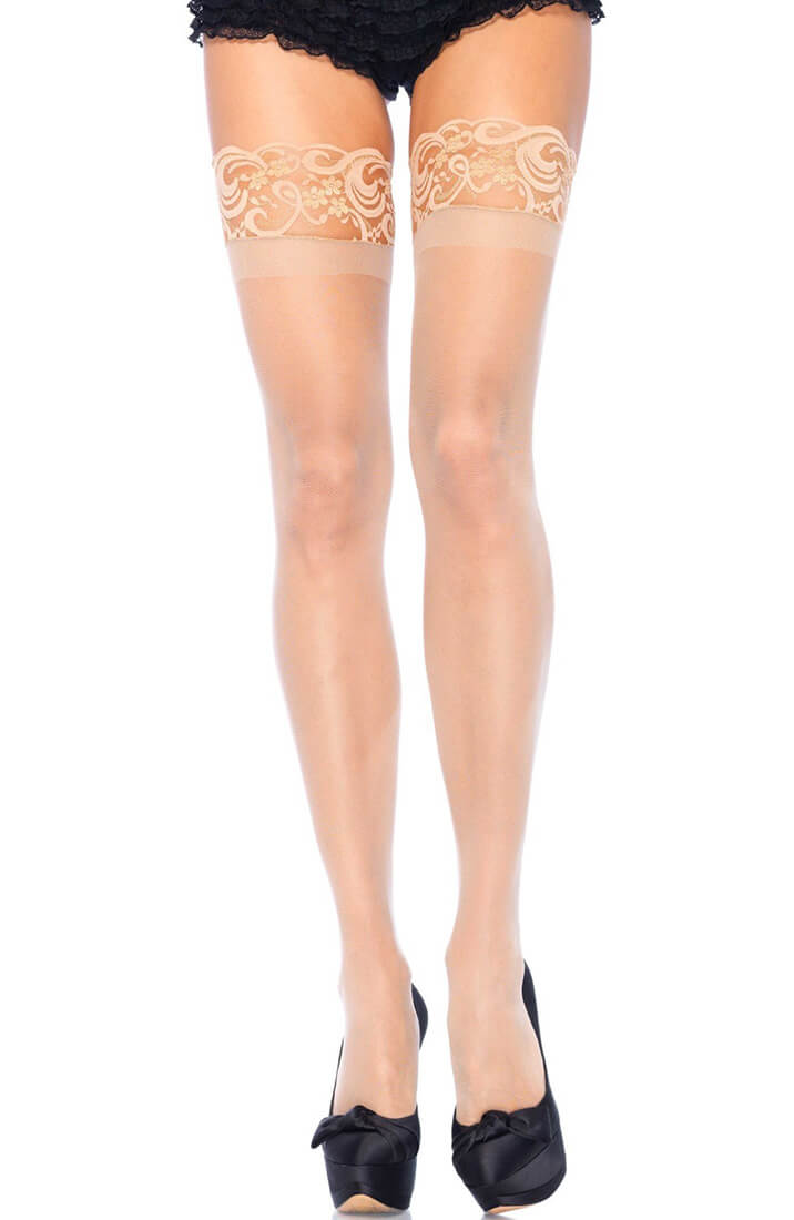 Nude sheer stay ups with silicone lace top