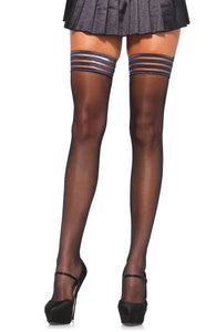 Black stay up stockings with silicone top