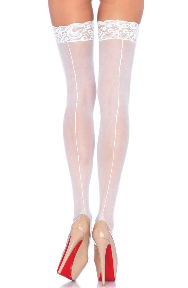 White backseam thigh highs with lace top