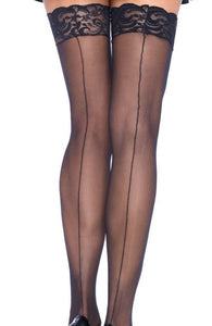 Black backseam thigh highs with lace top