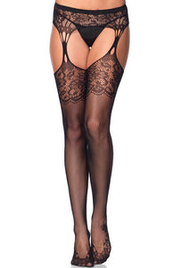 Fishnet pantyhose with lace and garter