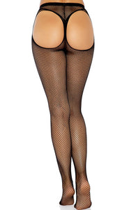 Black fishnet pantyhose with thong back