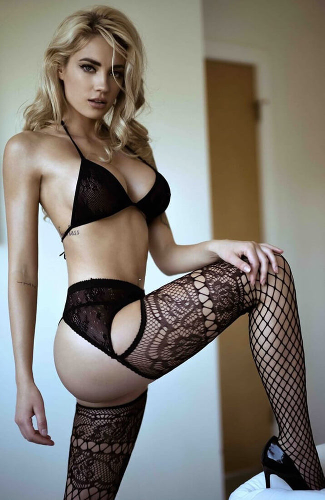 Black French lace & garter belt net pantyhose