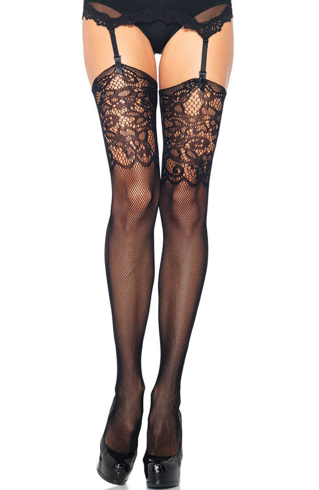 Black thigh highs with Jacquard lace