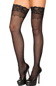 Black net thigh highs with bow backseam