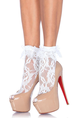 White lace ankle highs