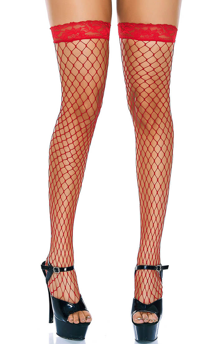 Red fishnet stockings with lace top