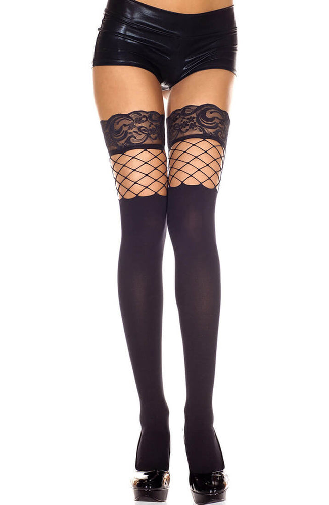 Black thigh high stockings with lace and fishnet