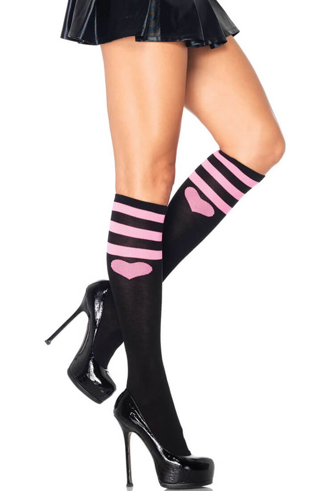 Black knee highs with pink stripes