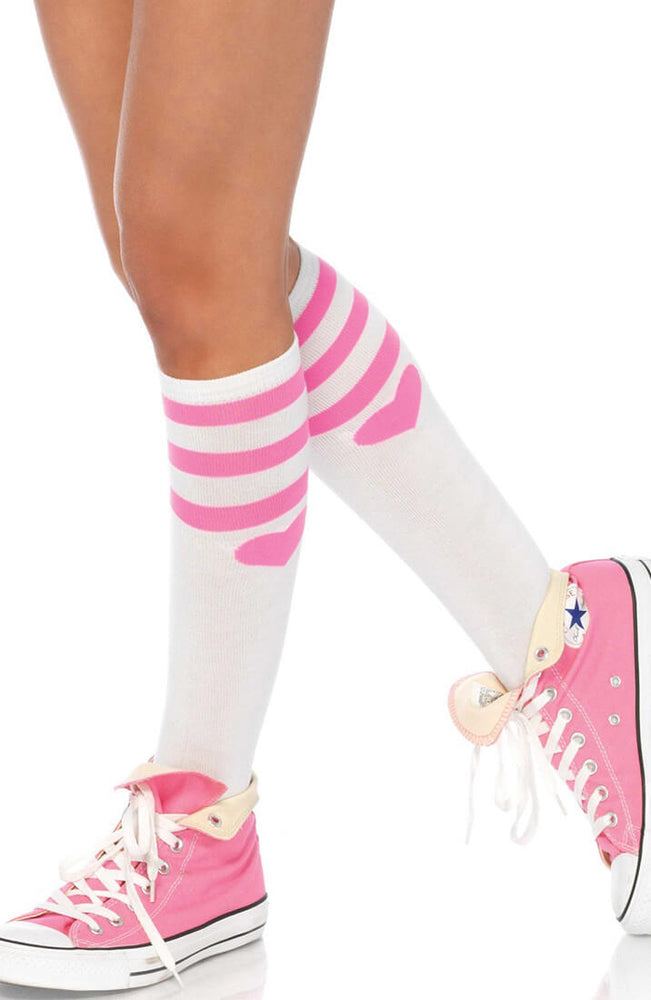 White knee highs with pink stripes