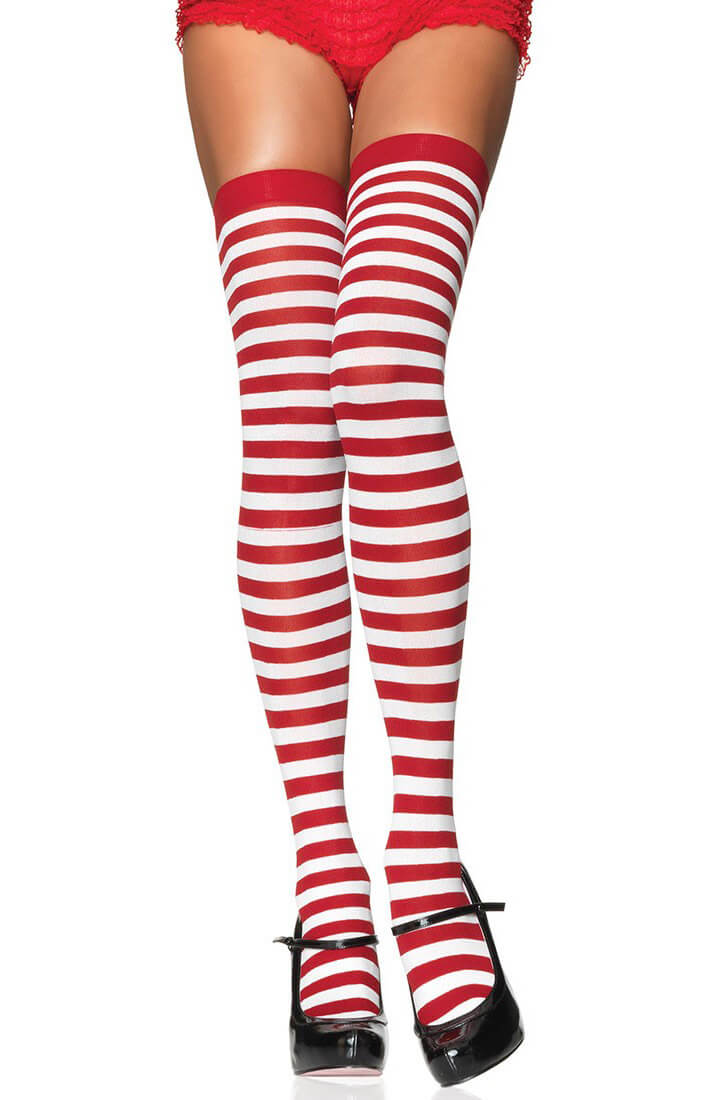 Striped thigh highs in red and white