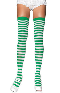 Striped thigh highs in green and white
