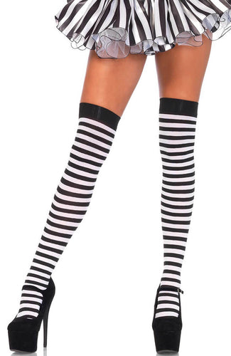 Black and white striped nylon thigh highs