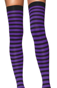 Striped thigh highs in purple and black