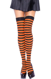 Striped thigh highs in black and orange