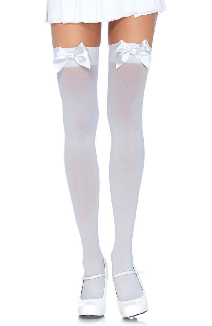 White thigh highs with white bow