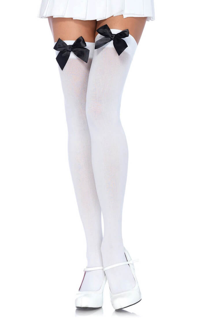 White thigh highs with black bow