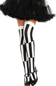 Black and white woven illusion thigh highs