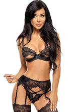 Load image into Gallery viewer, Black lace & wet look lingerie set - Monroe