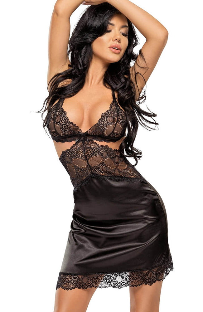 Black satin nightie - Adelaide Doll