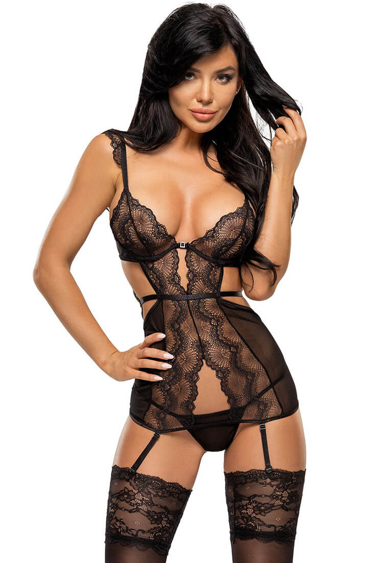 Lace bustier with suspenders - Precilla