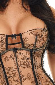 Nude and black bustier set - Pippa