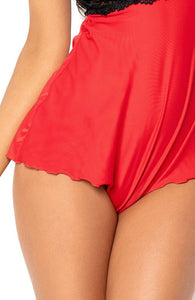 Red romper with lace - Annice