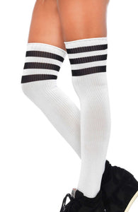 White Athlete stockings with black stripes
