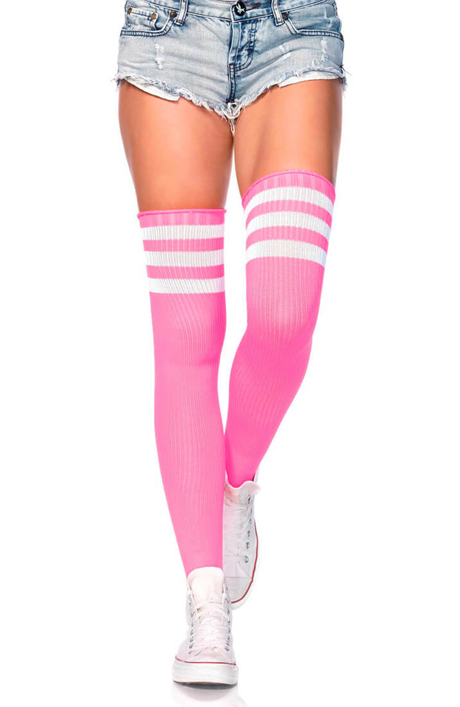 Neon pink Athlete stockings with white stripes