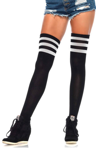 Black Athlete stockings with white stripes