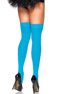 Neon blue opaque thigh highs