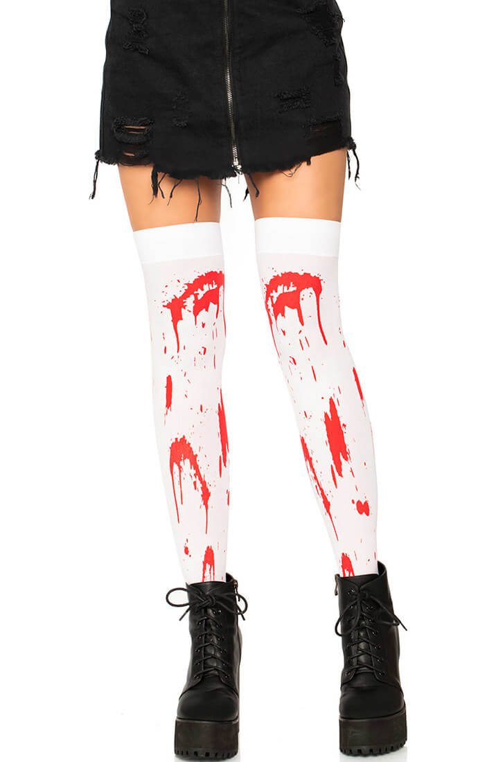 Halloween thigh highs with blood print