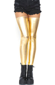 Gold wet look thigh highs