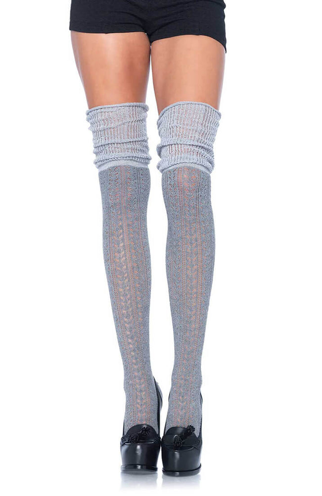 Crocheted grey thigh highs