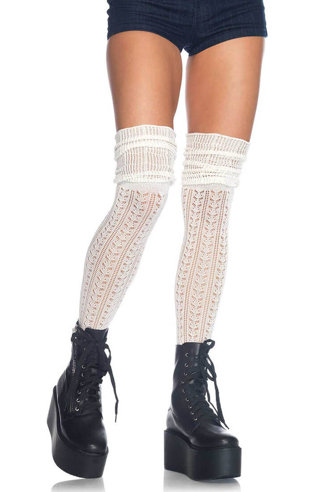 Crocheted ivory thigh highs