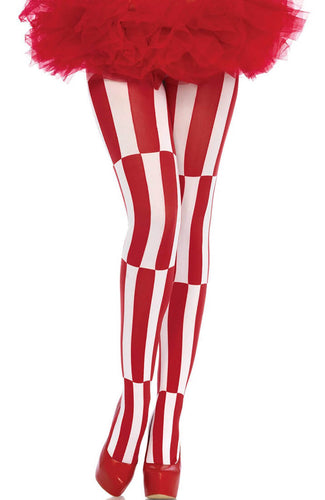 Red and white illusion pantyhose