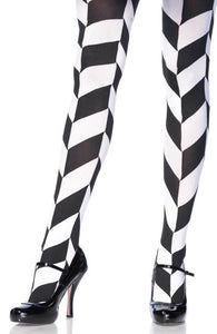 Black and white chevron illusion pantyhose