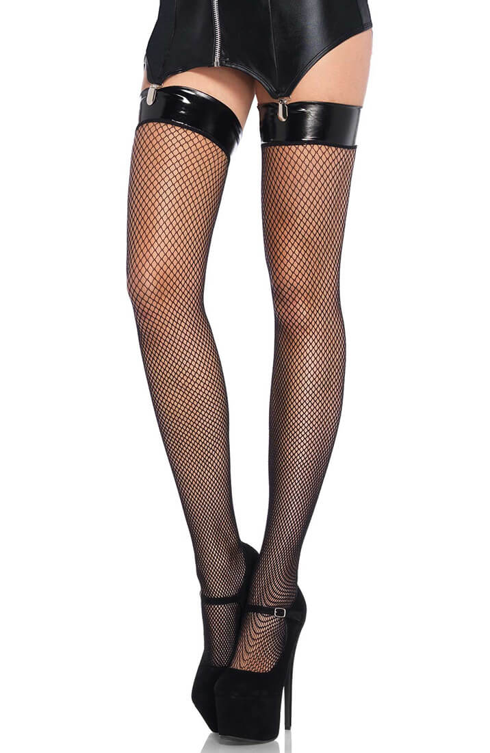 Fishnet stay ups with vinyl top