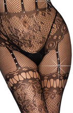 Load image into Gallery viewer, Black halter bodystocking - Strappy Surrender