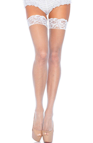 White fishnet stay ups with lace top