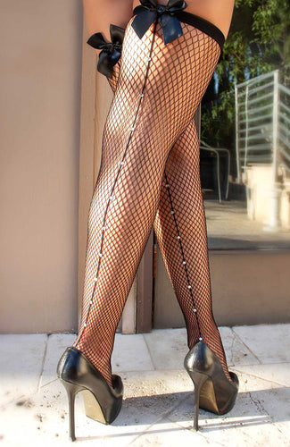 Black net thigh highs with bow & rhinestone backseam