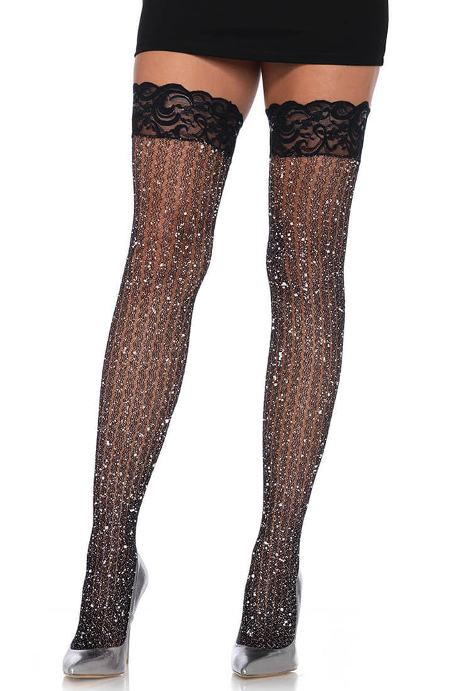 Black thigh high stockings with glitter